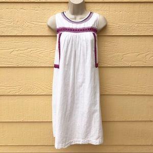 Loft White Linen Swing Dress Pink Embroidered XS
